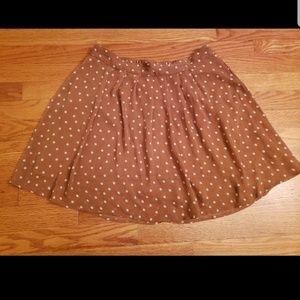 Brown and white polka dot flare circle skirt